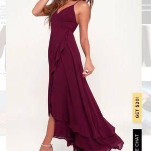 Lulu's Burgundy Lace-Up High-Low Maxi Dress